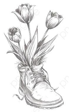 Pencil Drawings Of Flowers, Pencil Sketch Drawing, Pencil Shading, Flower Sketches, Pencil Art Drawings, Art Drawings Sketches, Cool Drawings, Drawing Flowers, Pencil Drawing Inspiration
