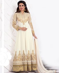 Cream floor length anarkali suit with golden resham embroidery   1. Cream poly georgette embroidered anarkali suit2. Resham embroidery  on yoke with golden gotta border on bottom3. Comes with matching santoon bottom and chiffon dupatta4. Can be stitched upto size 42 inches