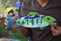 Large blues & greens fused glass fish trout by fusion2 on Etsy, -- I love everything about this fish!!!!