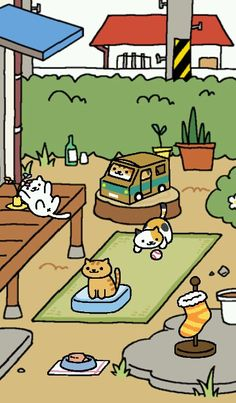 Neko Atsume - so kawaii 😍 available in PlayStore 😊 Neko Atsume Kitty Collector, Cat Collector, Neko Cat, Kitty Games, Cute Paintings, Cute Games, Cat Drawing, Cute Cartoon, Cartoon Cats