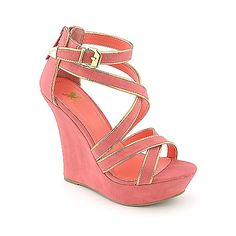 Coral and gold wedges; perfect for summer