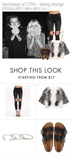 """""""Taking strange photos with Harry Styles and Lou Teasdale"""" by werehazza ❤ liked on Polyvore featuring UNIF, Gorjana and Birkenstock"""