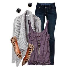 "Dark skinny jeans, purple tank top, gray/purple cozy long sleeve sweater, leopard print ballet flats, silver and purple ""y"" necklace, black stud earrings."