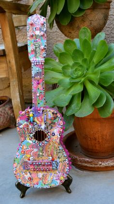 Decoupage  Guitar With Stand Dios Los Muertos by OliviabyDesign on Etsy.