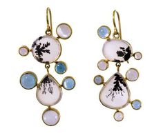 Judy Geib | Dendritic Agate and Gem Earrings in New Earrings at TWISTonline