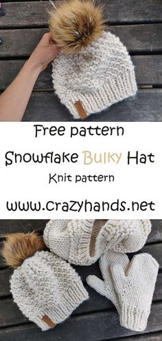 Free Knitting Patterns For Women, Loom Knitting Patterns, Knitting Yarn, Free Knitted Hat Patterns, Knitting Kits, Easy Knit Hat, Loom Knit Hat, Knitted Hats, How To Knit A Hat
