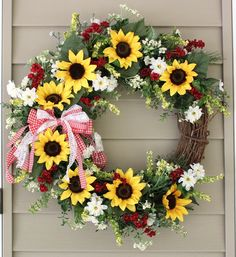 A personal favorite from my Etsy shop https://www.etsy.com/listing/534518095/sunflower-wreath-summer-wreath-country
