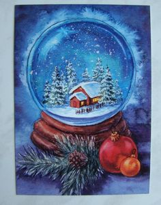 Christmas Time, Merry Christmas, Easy Crafts, Arts And Crafts, Christmas Paintings, Snow Globes, Cute Animals, Auction, Watercolor