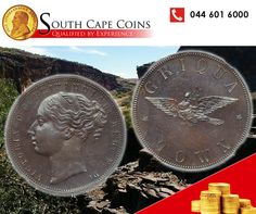 "On the obverse of the Griqua penny appears the ""young head"" of Queen Victoria, and on the reverse the dove of peace bearing an olive branch. Rare Coins, Queen Victoria, Peace, Personalized Items, Room"