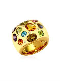 KIKI MCDONOUGH Diamond, gem & gold ring