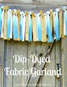 Dip Dyed fabric garland.  Thinking of this as a window swag with sheers behind it.