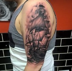 Awesome Ship Tattoo Design by Gemma Leigh