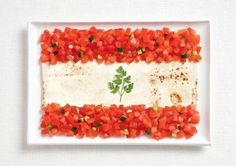 lebanon-flag-made-from-food geographicdesigner.com. Great kitchen art!