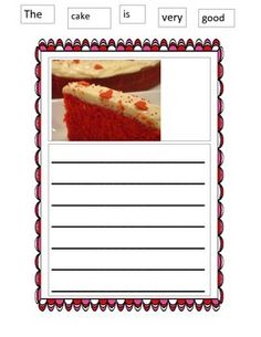 Students are given a visual connected to Valentine's Day.  Strategically hurdle help is given by having the words needed for the first sentence listed above the visual picture.  Students are to write another 2-3 sentences on their own per page.