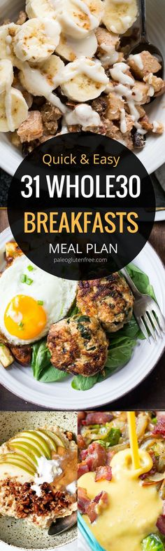 31 Whole 30 breakfast meal plans with recipes! Easy, quick, and healthy! Eat a healthy, paleo friendly, grain-free breakfast to start you day.
