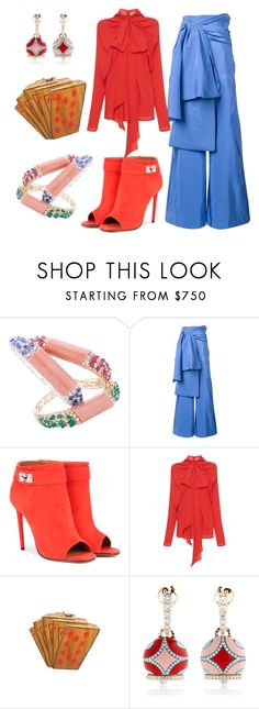 """""""Bright coral in the ocean"""" by jenna-hanssen ❤ liked on Polyvore featuring Rosie Assoulin, Givenchy, Rochas and Chantecler"""