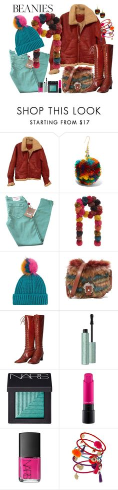"""""""Beanies"""" by marionmeyer ❤ liked on Polyvore featuring Rosantica, True Religion, Accessorize, Topshop, Paula Cademartori, Yves Saint Laurent, NARS Cosmetics, MAC Cosmetics, Dorothy Perkins and pompombeanies"""