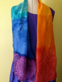 Handpainted Silk With Vivid Rainbow Colours by thesilkmaid on Etsy, $40.00