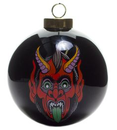 "SOURPUSS KRAMPUS ORNAMENT - Merry Krampus! Our glossy, ceramic ornaments are a great way to add some flash to your Christmas tree this holiday season. The black background of the ball amplifies the brightly colored Krampus face and ""Merry Krampus"" lettering on the opposite side. NOTE: A little flattery might save your tail when the infamous, horned regulator shows up to collect on your year's behavior... you may want to grab a few... just in case."
