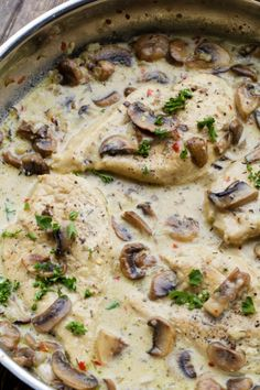 Skillet Chicken in a Mushroom cream sauce. All made in the skillet and ready in under 30 minutes.
