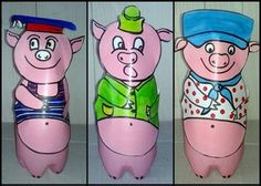 93_Personnages animaux monstres_Les trois petits cochons (finis) Wolf, Three Little Pigs, Puppets, Art Lessons, Literacy, 3 D, Fairy Tales, Crafts For Kids, Album