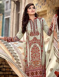 Gul Ahmed Women's Pure Silk Printed Beige Dress Material Includes Printed  Silk Dupatta SS-85