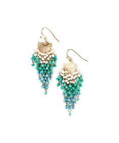 Gold & Turquoise Seed Bead Drop Earrings