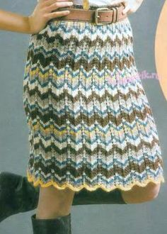 Вязаная юбка с узором из зигзагов
