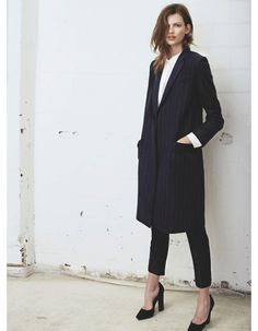 effortless hair and makeup, pin striped boyfriend coat and heels, this is perfection