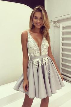 Light Lavender Deep V Neck Short Prom Dress,Sleeveless Appliques Pleats Cheap Homecoming Dress,Party Dress