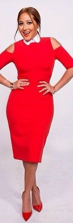 Adrienne Bailon The Real Daytime white collar shirt layered under red cold shoulder midi dress