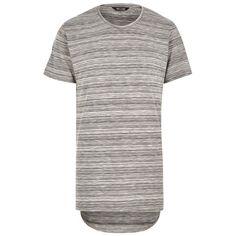 Grey Striped Pattern Long Hem T-Shirt #yeezy #350boost #onlysons #adidas