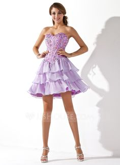 A-Line/Princess Sweetheart Short/Mini Chiffon Homecoming Dress With Beading (022011225) - JJsHouse