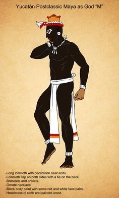 This is the second in my line of male outfits for the Maya of the Yucatán during the postclassic period. Postclassic Maya of Yucatan God M style Outfits For Mexico, Aztec Culture, Brown Pride, Mesoamerican, Costume, Black Men, Deviantart, Seal, Male Outfits