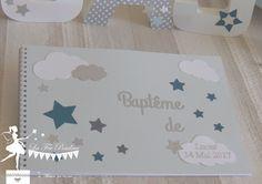 livre d or bapteme theme etoile nuage bleu pastel petrole gris recto