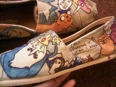 """""""But Shaking It Is All I Know"""" Adventure time inspired Tom shoes, $89"""