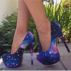 Trendy galaxy printed #heels
