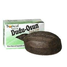 Dudu-Osun Black Soap. serious miracle product - not pretty to look at but produces incredible results...fades stretch marks, evens skin tone, clears acne. love it.  Hah! it's dudu soap