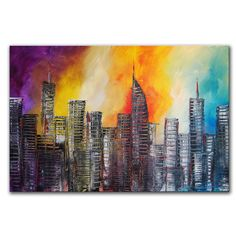 Large  Abstract Cityscape Painting  36x24  Original by by andrada, $215.00