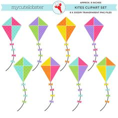 Kites Clipart Set  clip art set of kites by mycutelobsterdesigns