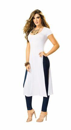 Resultado de imagen para lo ultimo en moda de mujer blusas largas abiertas a los lados Casual Chic, Fashion Casual, Fashion Vestidos, White Dress, Dresses For Work, Tunic Tops, Outfits, Mina, Clothes