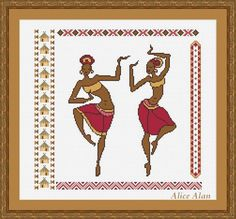 Dancing African Womans with ethnic motifs Counted от HallStitch