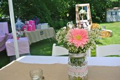 Country Wedding shower | Centerpieces for our rustic country bridal shower. Mason jars ...