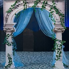 Photo booth idea: Blue curtain w/ greenery. Maybe we can make cardboard column arch? Pose with bowl of grapes and vases in the background.