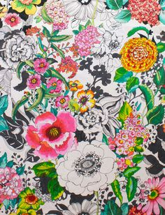 Alexander Henry, Greenwich Natural Cool Patterns, Fabric Patterns, Print Patterns, Textile Prints, Textile Design, Floral Prints, Alexander Henry, Pattern Design, Sketches