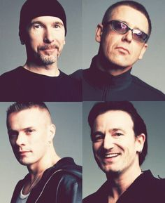U2...I love it! Adam & Larry are serious, as usual. Edge has a bit of a smirk. Then there's Bono, with his full megawatt smile! ❤️