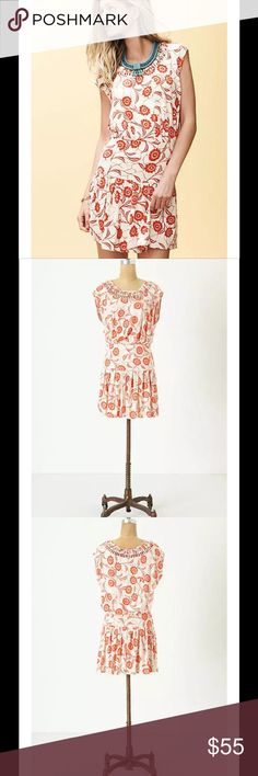 """Anthro Leifnotes Scattered Stellata Dress Floral $128 Anthropologie Leifnotes Scattered Stellata Dress Red Floral Sz XS  A cutout bib and dropwaist shape accent LeifNotes' casual jersey shift.  • Pullover styling • Cotton  • Machine wash  • Underarm to underarm laying flat measures  18"""" unstretched, shoulder to hem measures 33.5"""" • $128 retail Anthropologie Dresses"""
