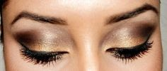 Perfect eyebrows with golden smokey eyes make-up look