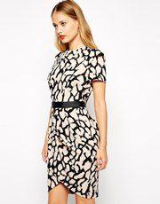 ASOS Tulip Dress in Crepe with Animal Print