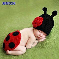 5 шт./лот горячая распродажа божья коровка милый звериного стиля ребенка шапочка Hat шапки вязание крючком связали новорожденных фотография опоры(China (Mainland))